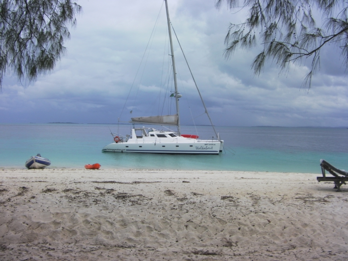 Luxury Catamaran yacht anchored of Mesali Island, Pemba.