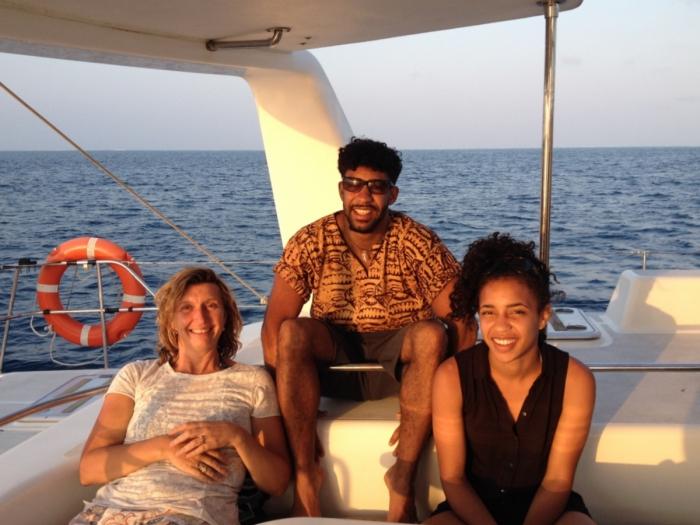 Returning at sunset from a day charter yacht cruise to Mnemba Island, Zanzibar.