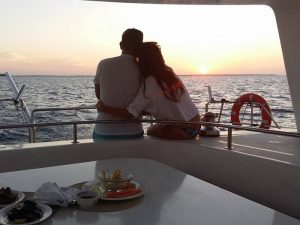 A couple enjoying our Zanzibar Private Yacht Charters.