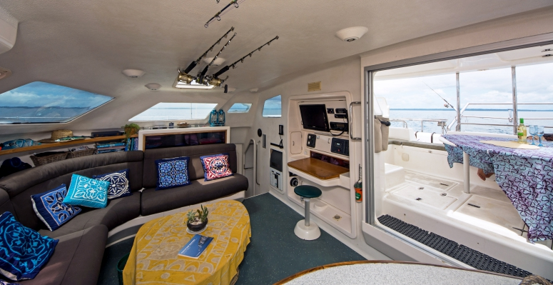 Our catamaran's very spacious and comfortable saloon and cockpit!