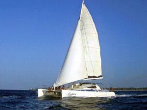 Catamaran Julia sailing with full rig up.