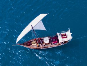 Aerial shot of Zanzibar Traditional Dhow Sailing - SUR